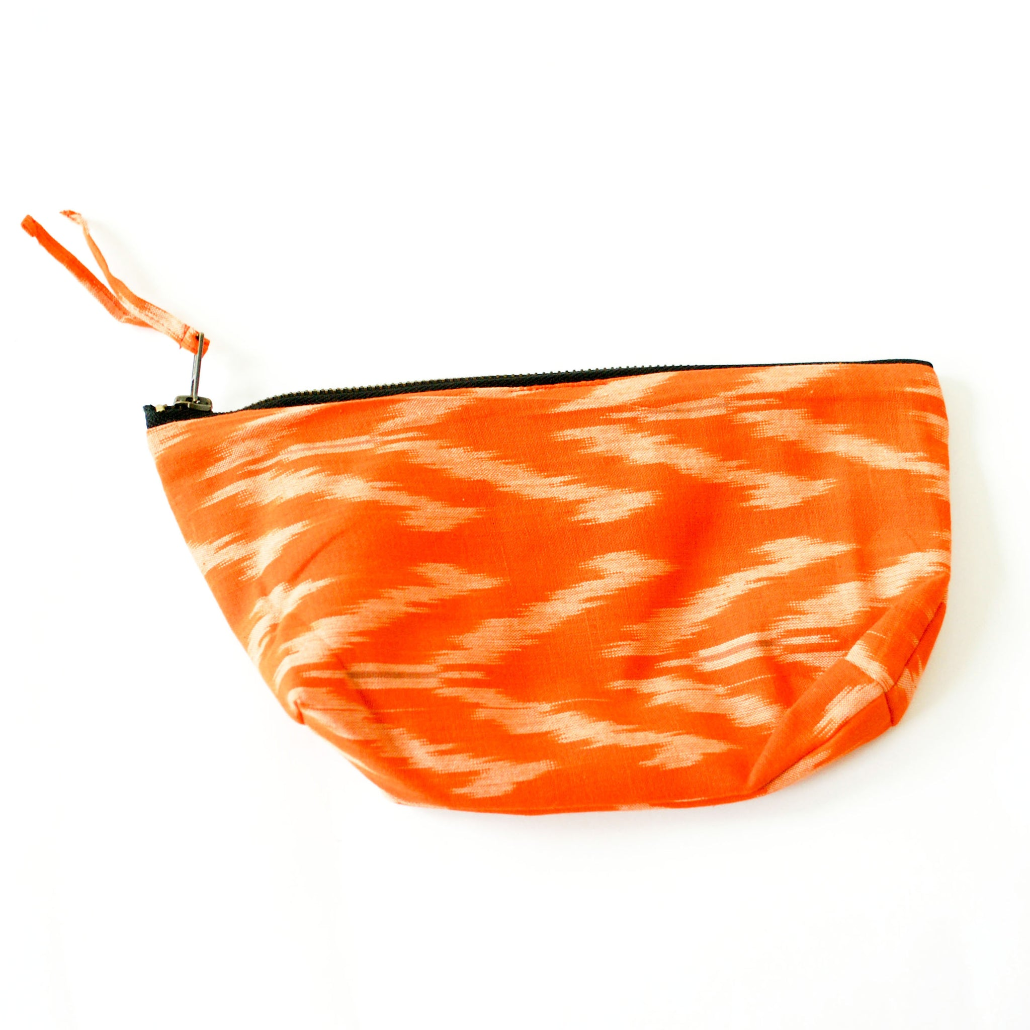 Tangerine Tulip Cotton Ikat Large Zipper Pouch