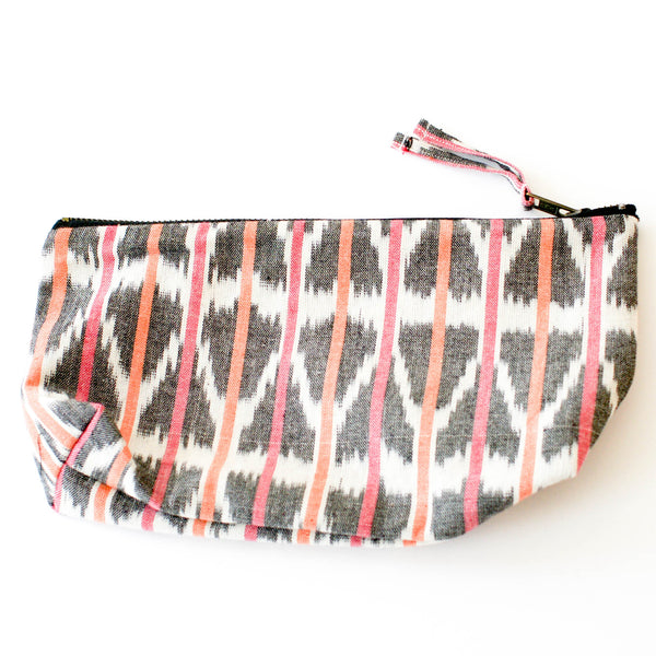 Orange Pink Ikat Triangle Stripe Large Zipper Pouch
