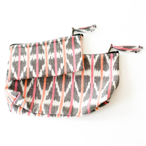Artisan Made Orange Pink Ikat Triangle Stripe Large Zipper Pouch