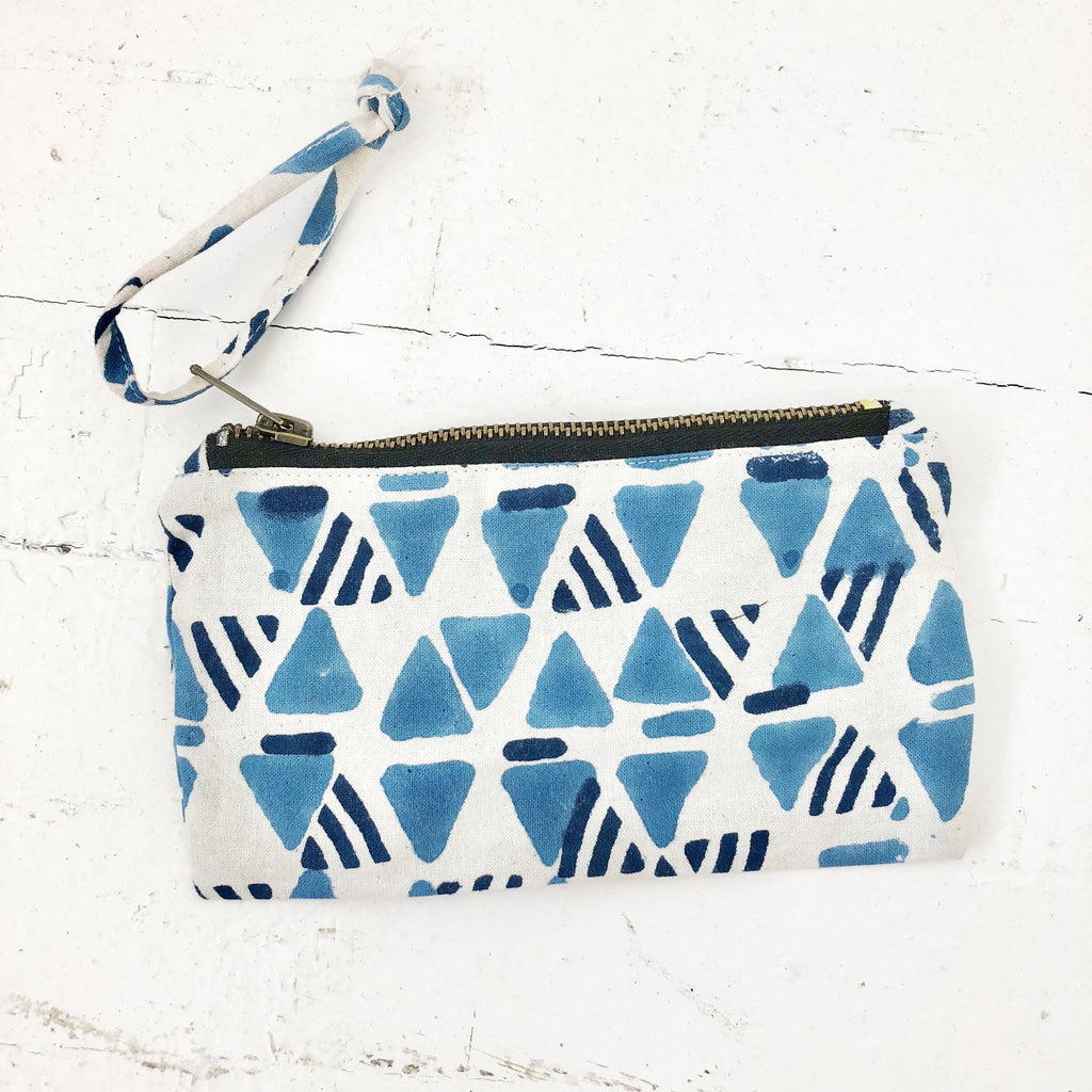Blue Triangle Block Print Small Zipper Pouch Phone Case Wallet