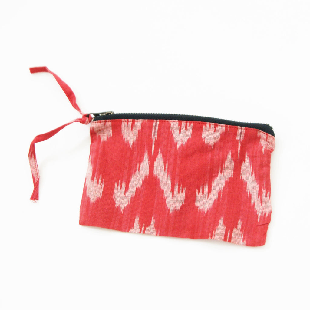 Orange Tulip Cotton Ikat Small Zipper Pouch