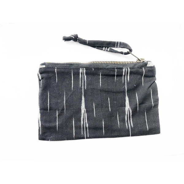 Black Grey Ikat Arrow Stripe Handwoven Cotton Zipper Pouch 4.5x7 - Rustic Loom