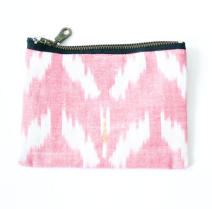 Rose Wine Ikat Tulip Small Zipper Pouch