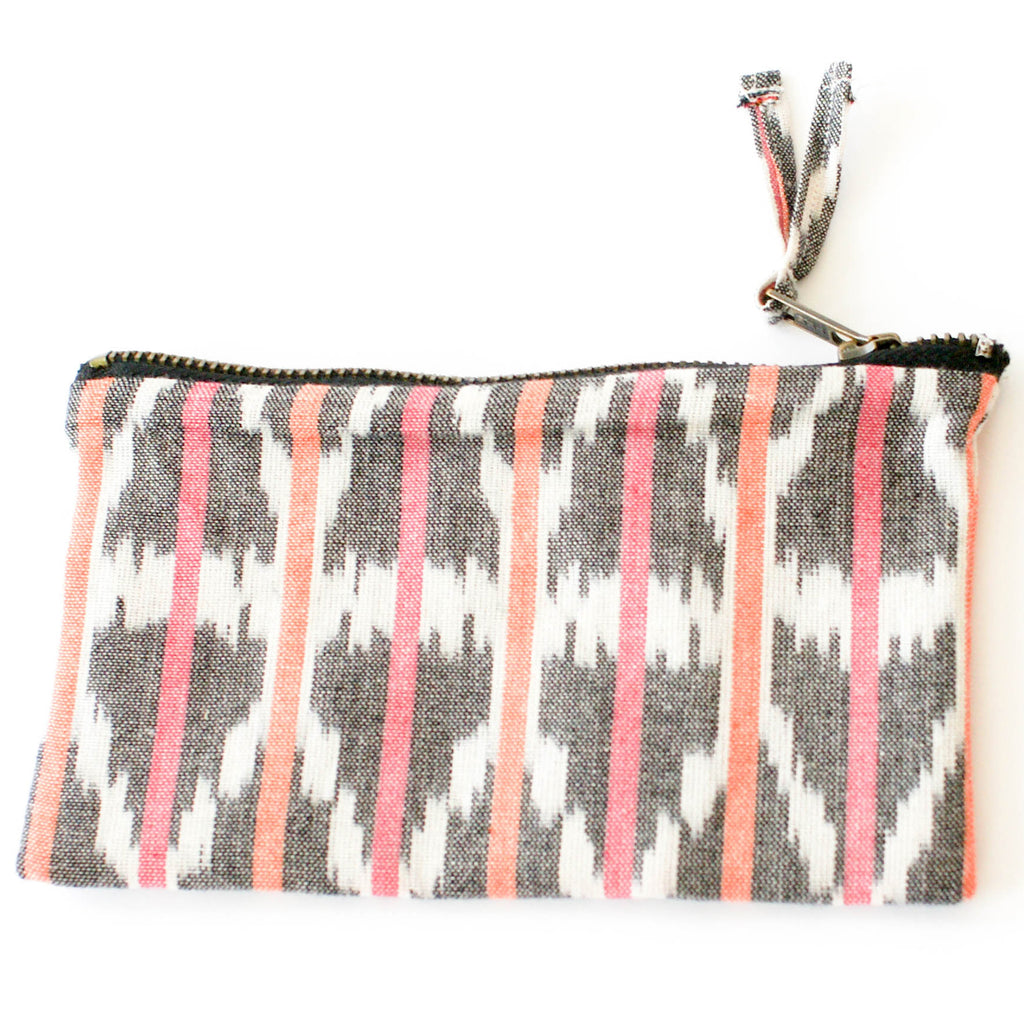 Orange Pink Ikat Triangle Stripe Small Zipper Pouch