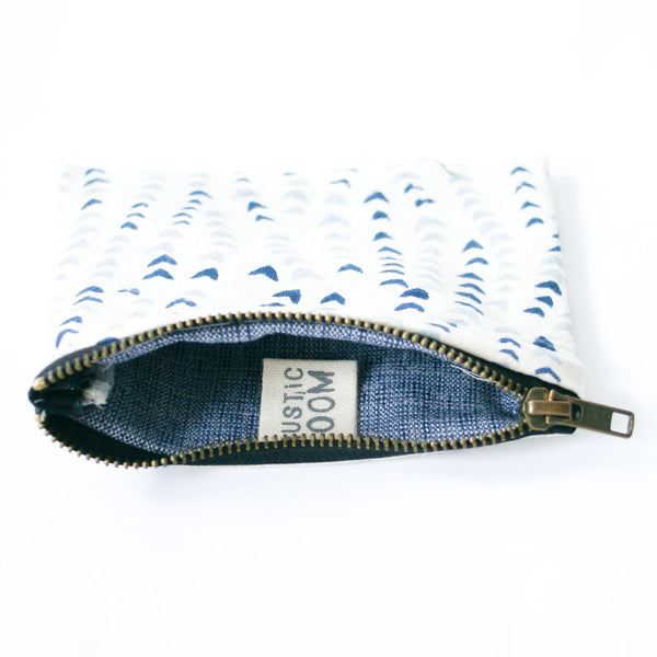 Blue Succulent Vine Block Print Small Zipper Pouch