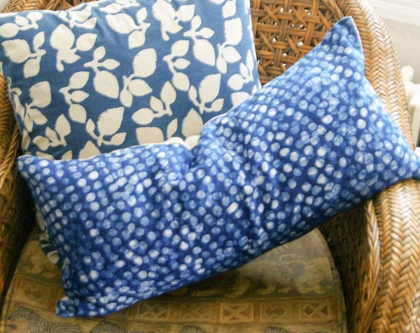 Artisan Made Indigo Blue Dot Linen Batik Lumbar Toss Pillow
