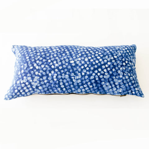 Indigo Blue Dot Batik Linen Lumbar Toss Pillow
