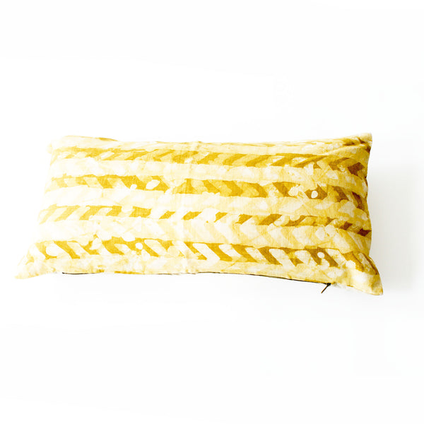 Chevron Gold Maize Lumbar Toss Pillow