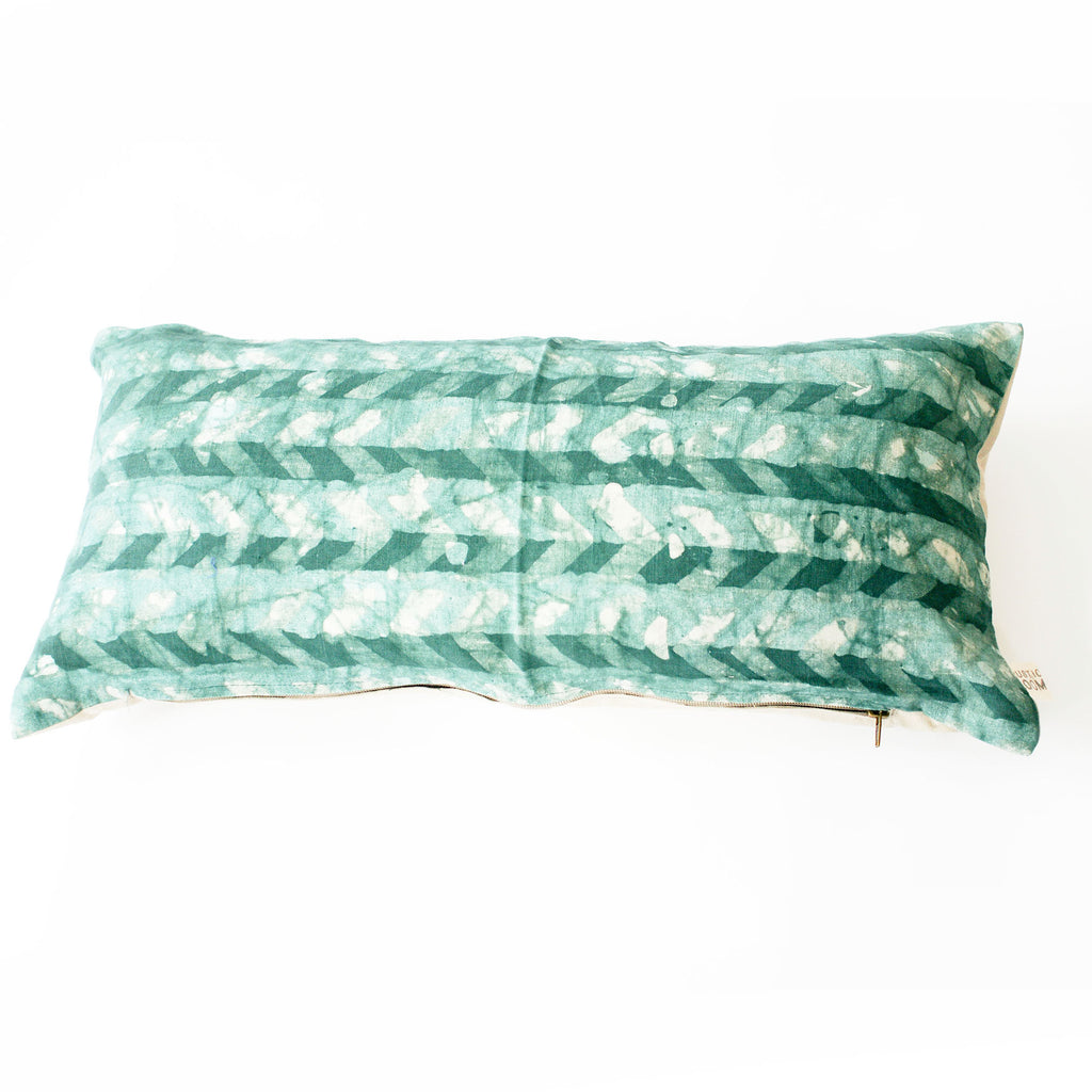 Chevron Emerald Green Lumbar Toss Pillow