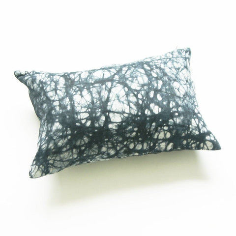 Black Splatter Paint African Batik Linen Lumbar Pillow
