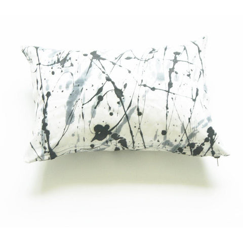 White Black Splatter Paint African Batik Linen Lumbar Pillow