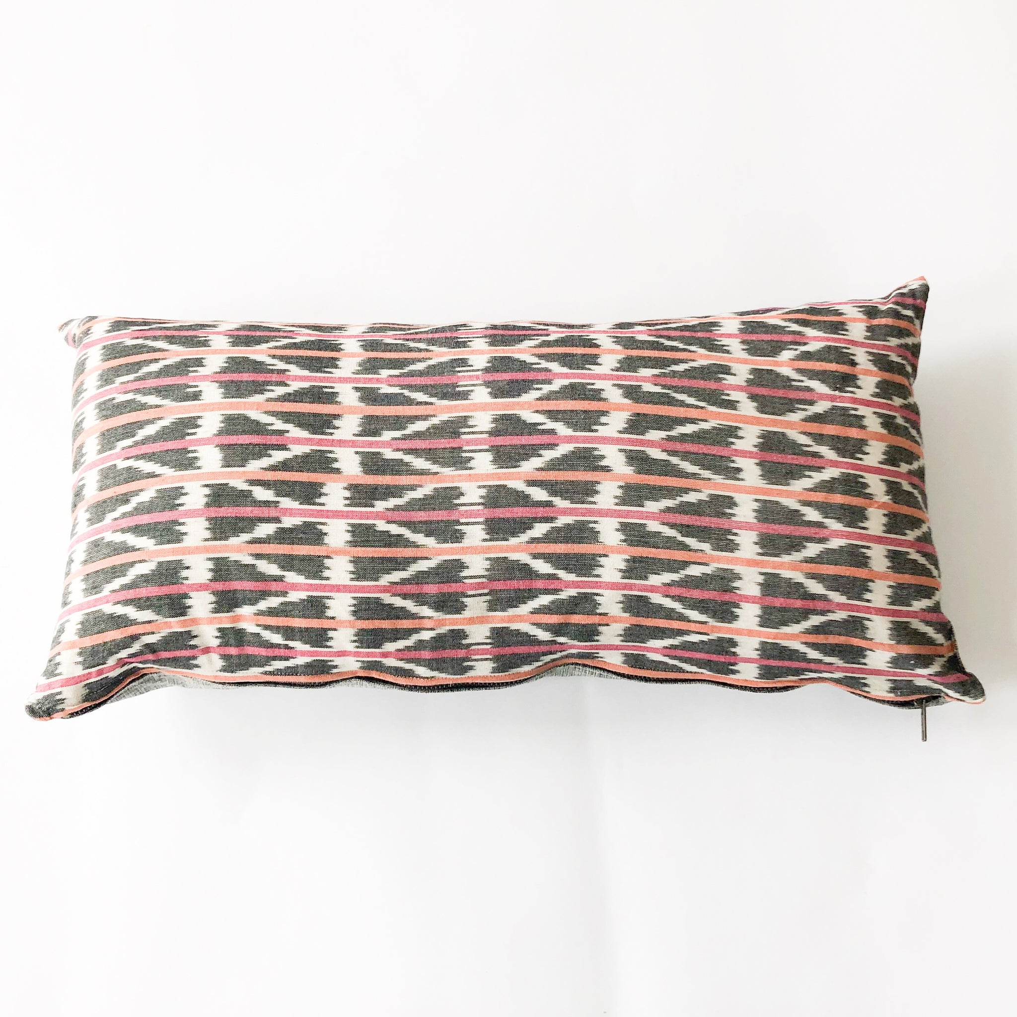 Orange Pink Triangle Stripe Woven Ikat Lumbar Pillow 12 x 24