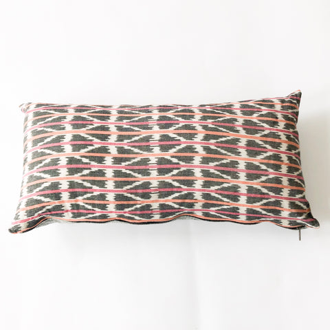 Handwoven Ikat Lumbar Toss Pillow Orange Pink Triangle Stripe