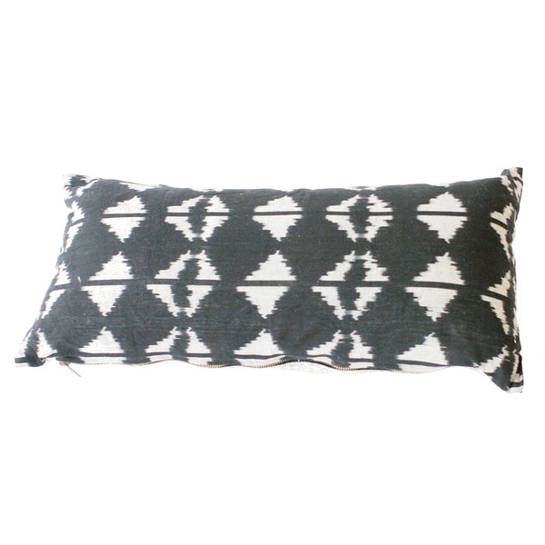 Black Triangle Ikat Lumbar Toss Pillow