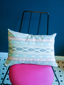 Aqua Pink Grey Ikat Stripe Woven Small Lumbar Pillow 12 x 18