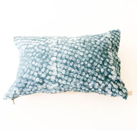 Teal Dot Linen Lumbar Pillow 12 x 18