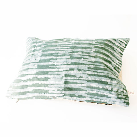 Teal Thin Stripe Linen Lumbar Pillow 12 x 18