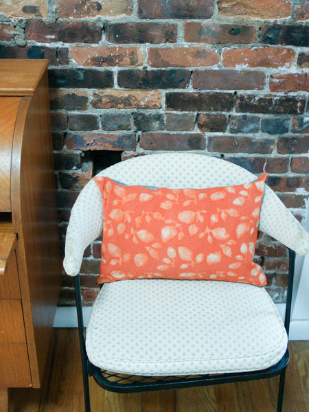 Orange Leaf Blockprinted Lumbar Toss Pillow 12 x 18