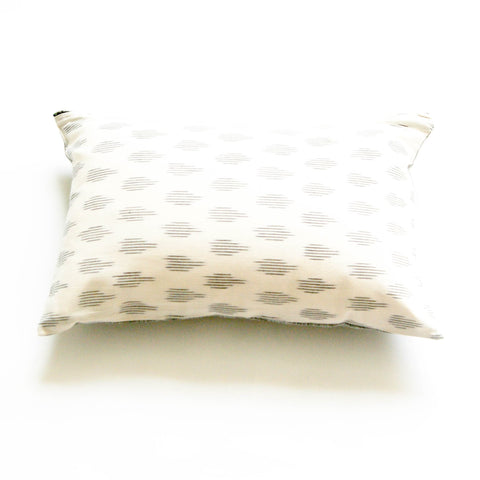 White Modern Dot Handwoven Cotton Ikat 12 x 18 Lumbar Pillow Rustic Loom