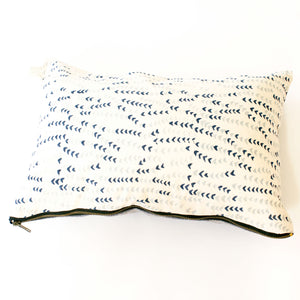 Blue Succulent Vine Block Printed Cotton Lumbar Pillow 12 x 18
