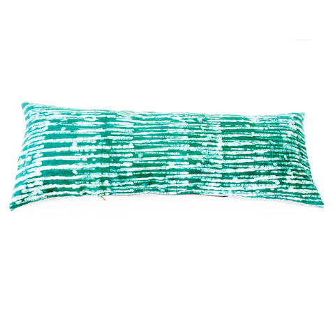 Emerald Green Stripe Batik Blockprinted Jumbo Lumbar Toss Pillow 14 x 36