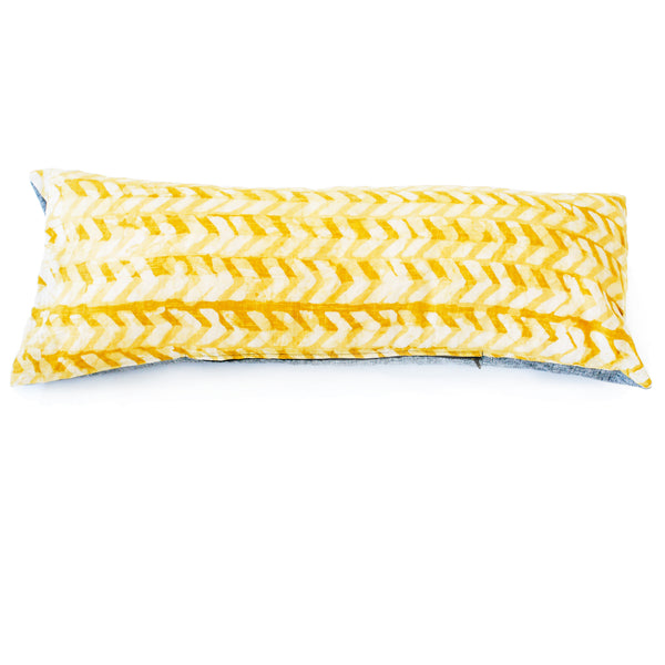 Maize Gold  Chevron Batik Blockprinted Jumbo Lumbar Toss Pillow 14 x 36