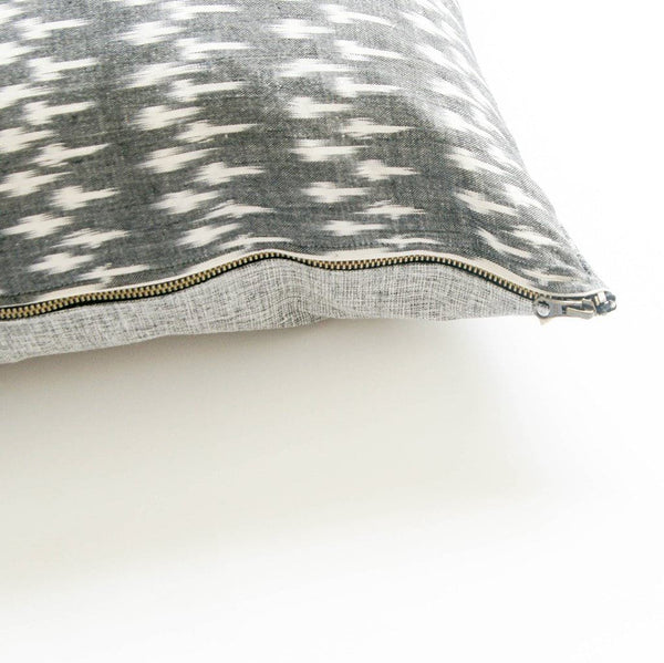 Handwoven Cotton Ikat Throw Pillow Grey White Dash