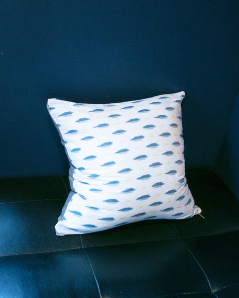 White Green + Yellow Ikat Leaf Lumbar Toss Pillow 22 x 22