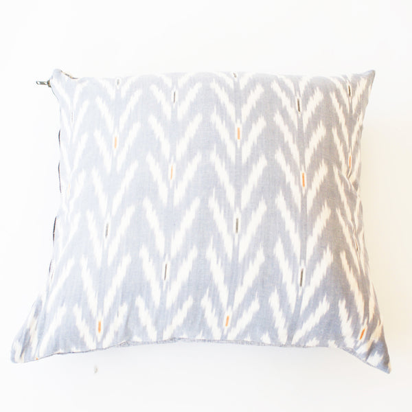 Periwinkle Blue Grey Ikat Tulip Pattern Throw Pillow 22 x 22 Square
