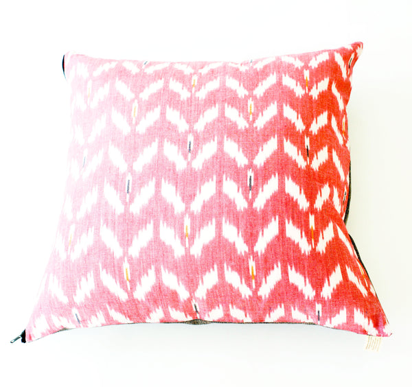 Rose Wine Ikat Tulip Pattern Throw Pillow 22 x 22 Square