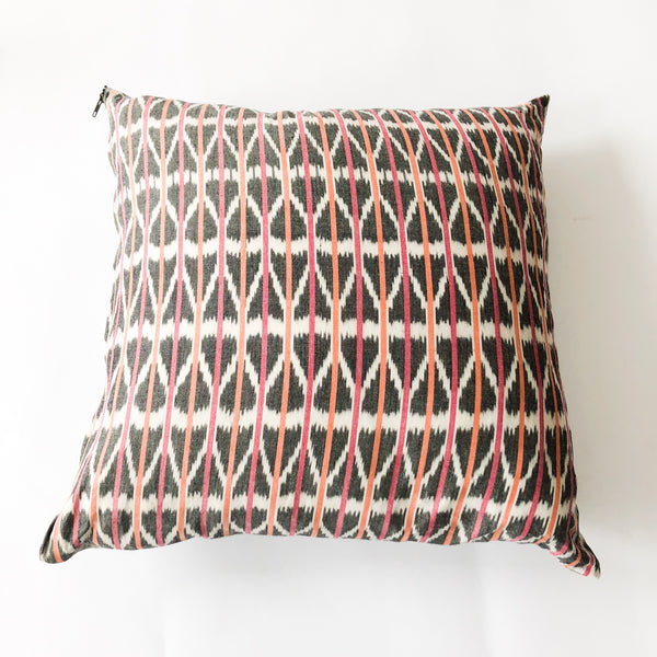 Orange Pink Triangle Stripe Cotton Ikat Woven Pillow 22 x 22