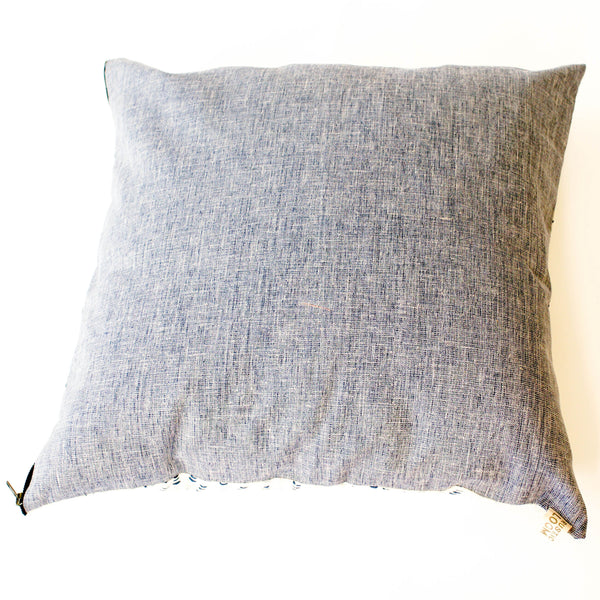 Blue Succulent Vine Block Printed Cotton Square Pillow 22 x 22 back