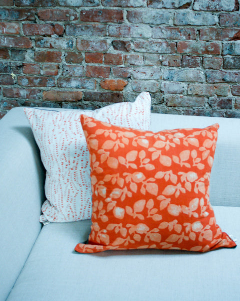 Orange Leaf Blockprinted Euro Square Toss Pillow 22 x 22