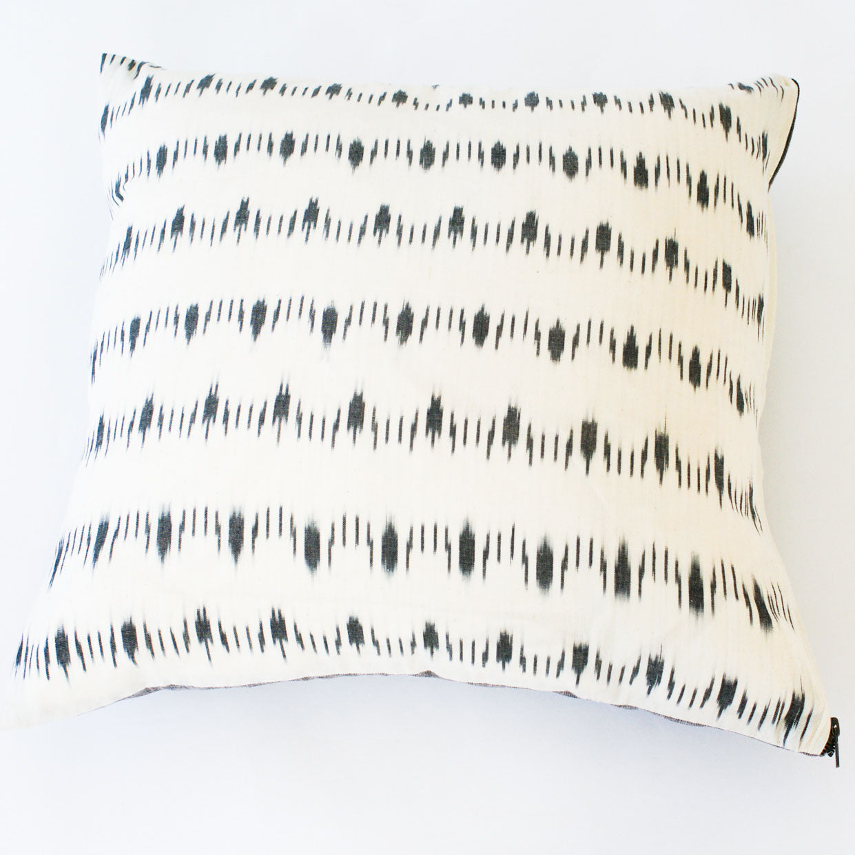 White Dotty Dash Ikat Cotton Ikat Throw Pillow 22 x 22