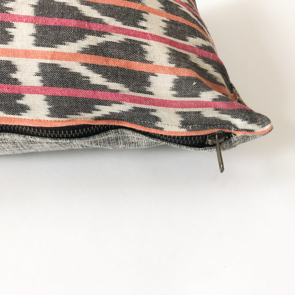 Handwoven Cotton Ikat Throw Pillow Orange Pink Triangle Stripe