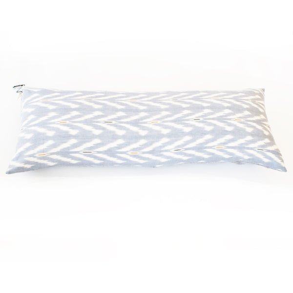 Periwinkle Blue Grey  Ikat Jumbo Lumbar Toss Pillow 14 x 36