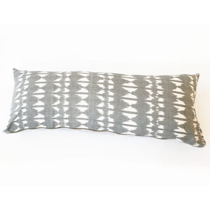 Grey Triangle Ikat Jumbo Lumbar Toss Pillow Ethically Sourced