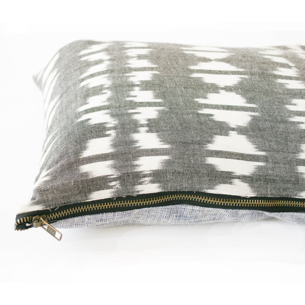 Grey Triangle Ikat Jumbo Lumbar Toss Pillow