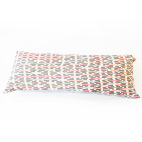Orange Pink Ikat Triangle Stripe Jumbo Lumbar Toss Pillow 14 x 36