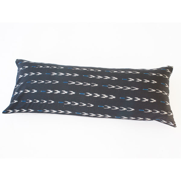 Black N Blue V Dash Ikat Cotton Throw Pillow 14 x 36 Square