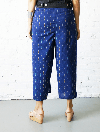 Palazzo Cotton Handwoven Cobalt Blue Ikat Wrap Pants