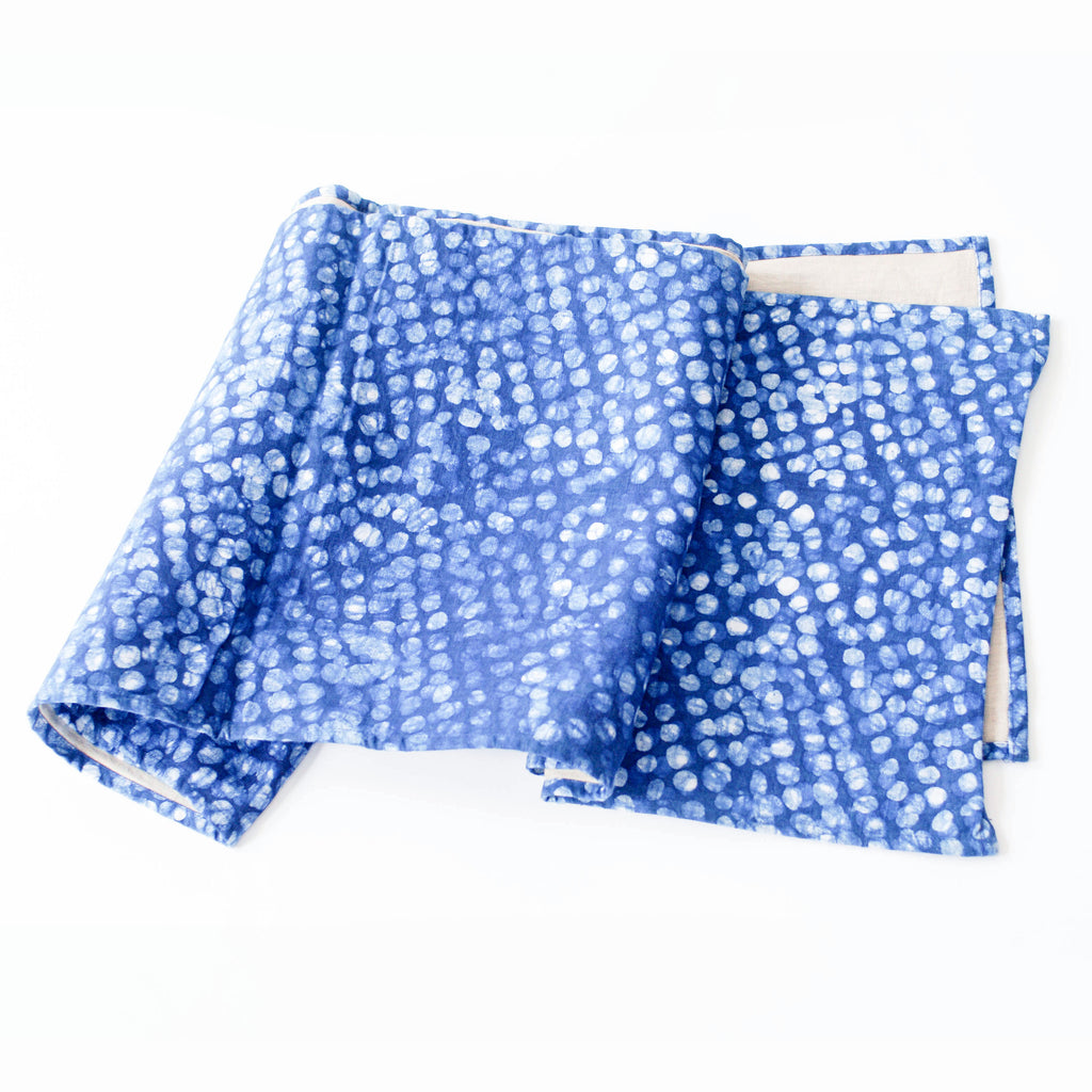 Indigo Blue Dot Table Runner Hand Blockprinted