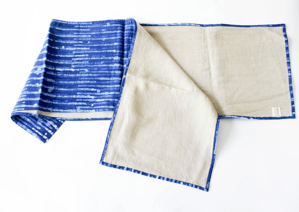 Indigo Blue Thin Strip Linen Table Runner