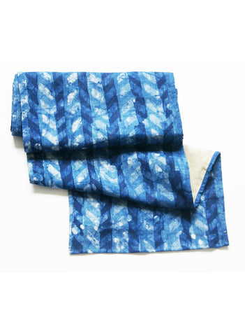 Blue Table Runner - Hand Blockprinted Batik Linen - Chevron Pattern - Rustic Loom