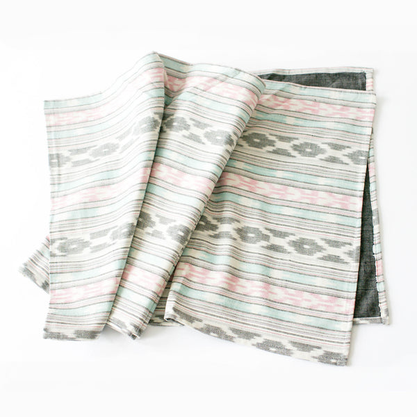 Aqua Pink Stripe Table Runner Handwoven Ikat