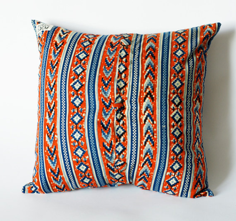 Red Blue Tribal Decorative Toss Pillow