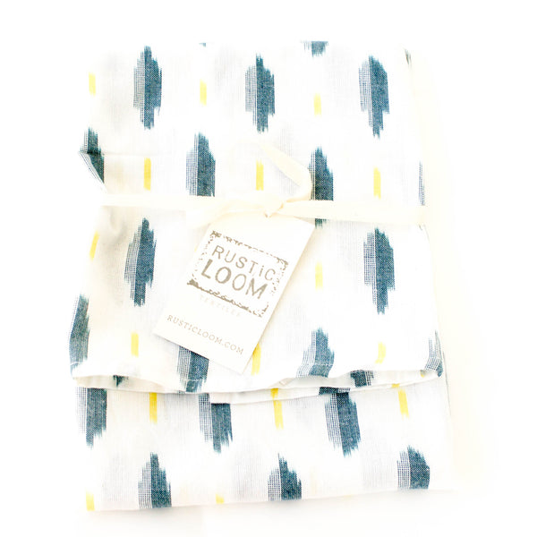 White Green + Yellow Ikat Leaf Cotton Woven Tea Towel