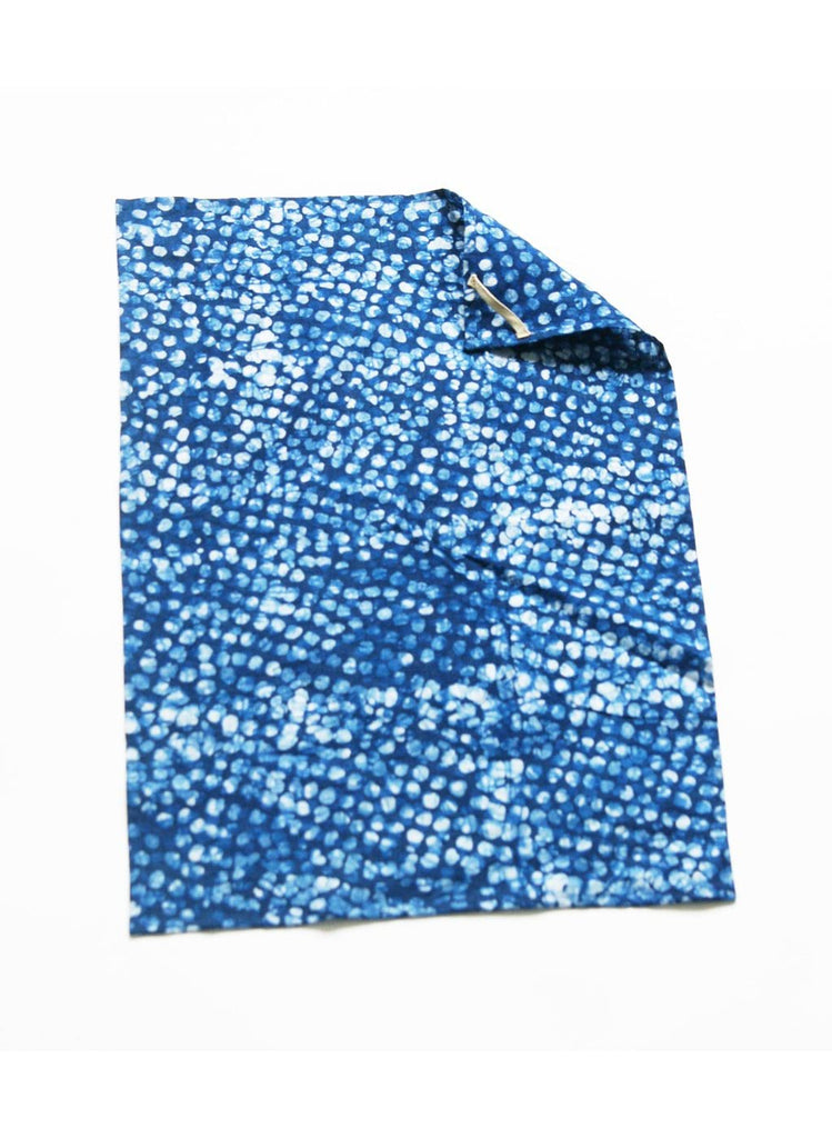 Indigo Blue Dot Handprinted Batik Linen Kitchen Tea Towel