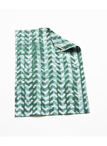 Chevron Tea Towel Handprinted Batik Kitchen - Teal Green Linen