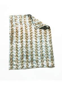 Brown Grey Linen Chevron Tea Towel Handprinted Batik